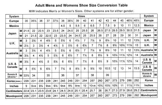 tabi size chart